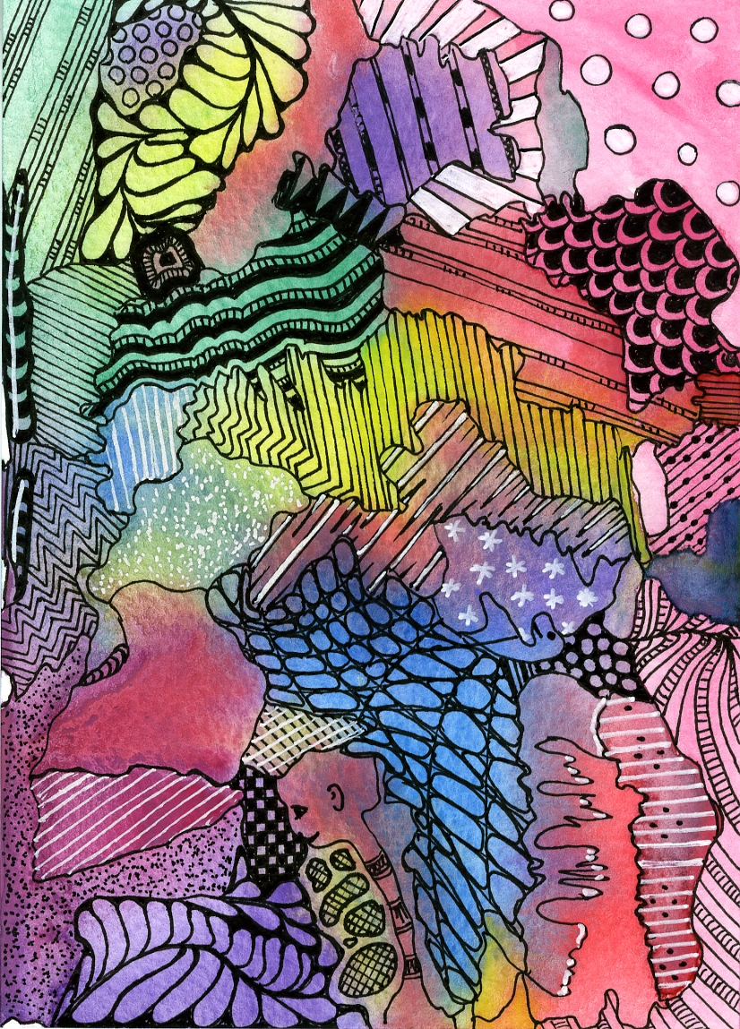 20140124 Zentangle on aquarel paint by Janet Plantinga