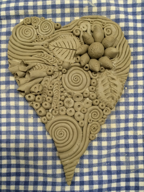 Doodle clay heart by Janet Plantinga 1