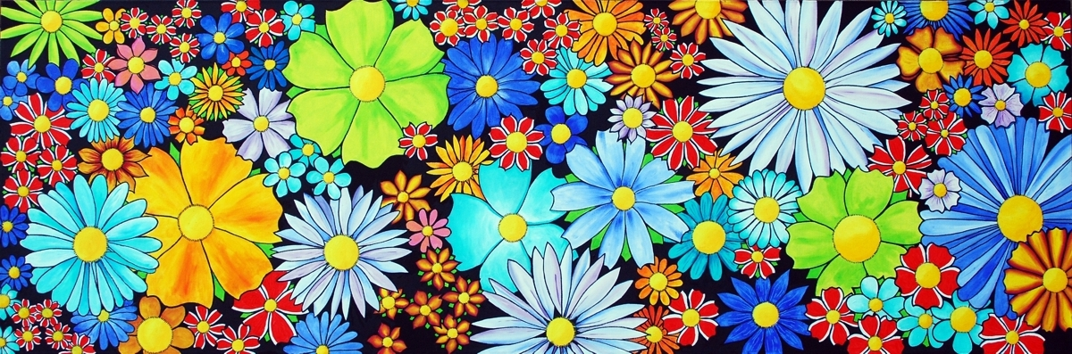 Acrylics on canvas painting of very colorful abstract flowers by Janet Plantinga, titled 'It's all about flowers'.