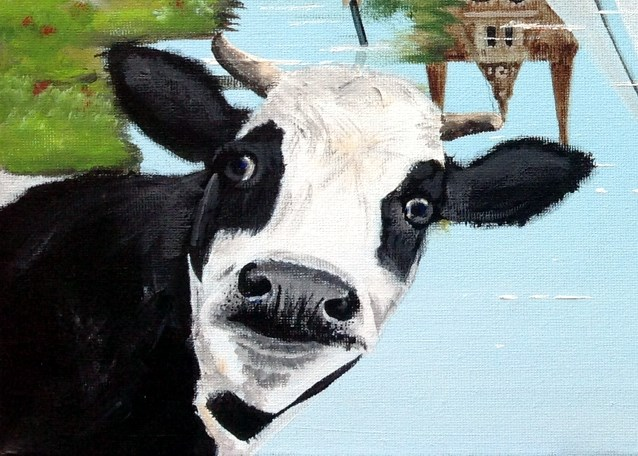 Painting 'Fryslân', acrylic on canvas, 30 x 40 cm, by Janet Plantinga, close-up cow