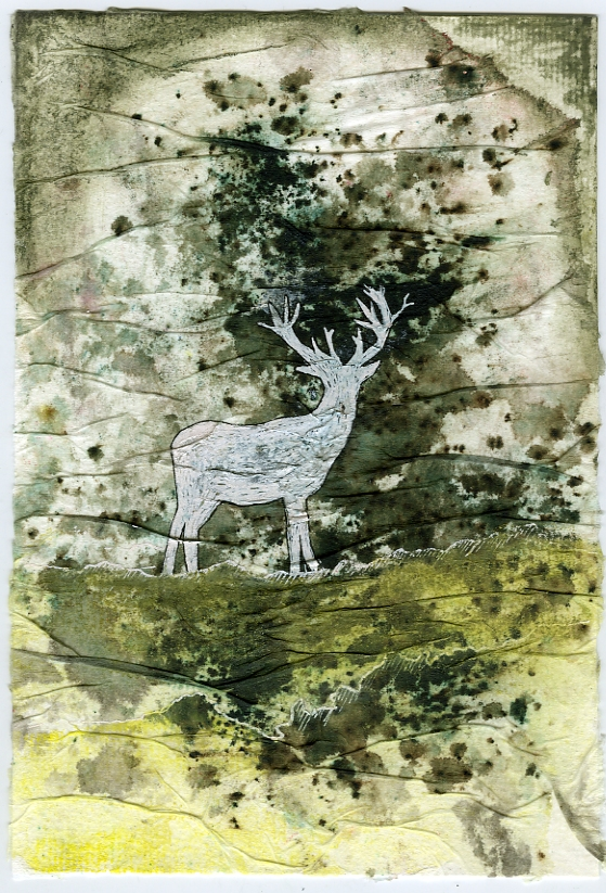 mixed-media-deer-in-woods-by-janet-plantinga